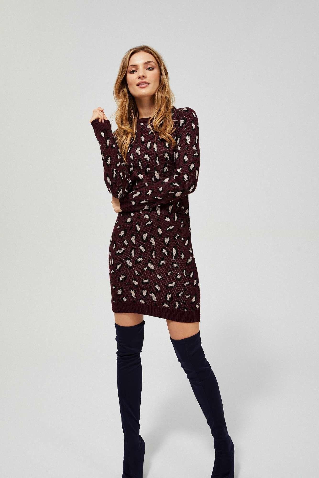 Sukienka swetrowa w cętki