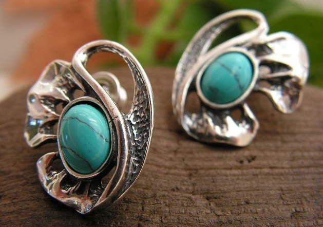 Blumila - srebrne kolczyki z turkusem