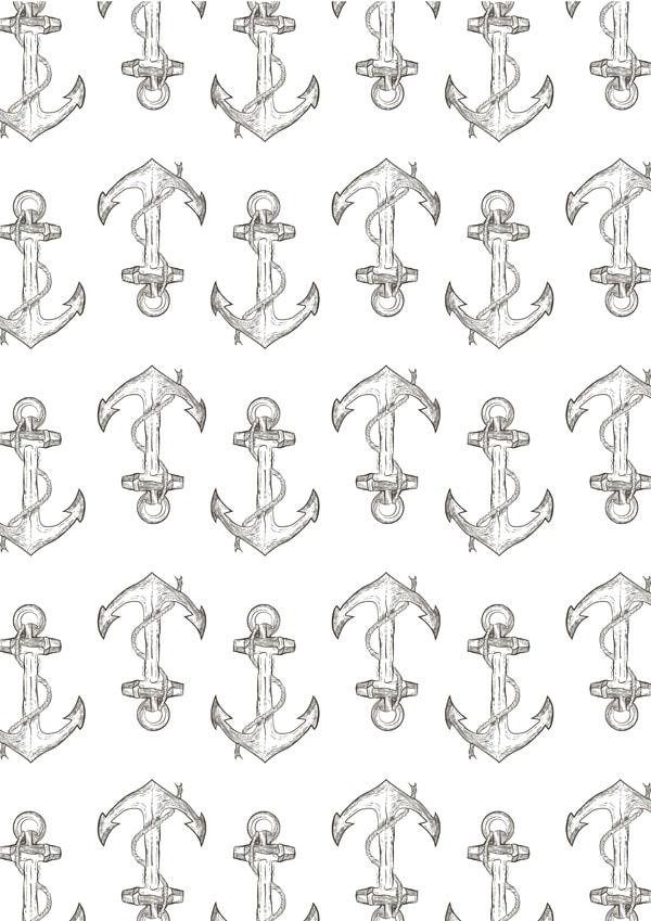 Kotwica wzór - plakat wymiar do wyboru: 21x29,7 cm
