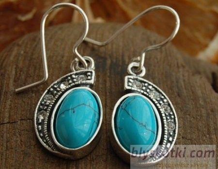 Tempoli - srebrne kolczyki z turkusem i kryształami