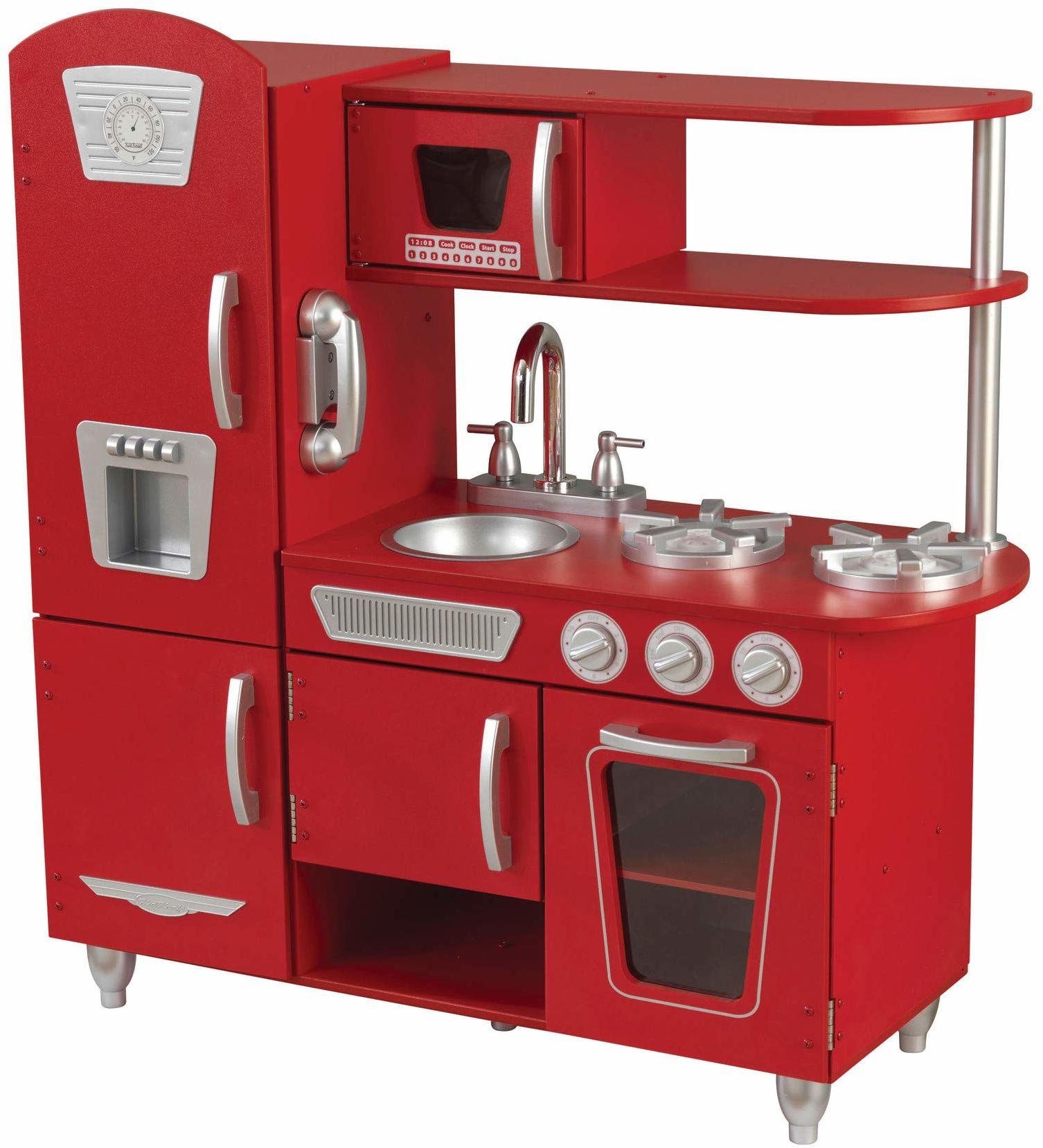 KidKraft 53173 kuchnia do zabawy w stylu vintage, z drewna, czerwona