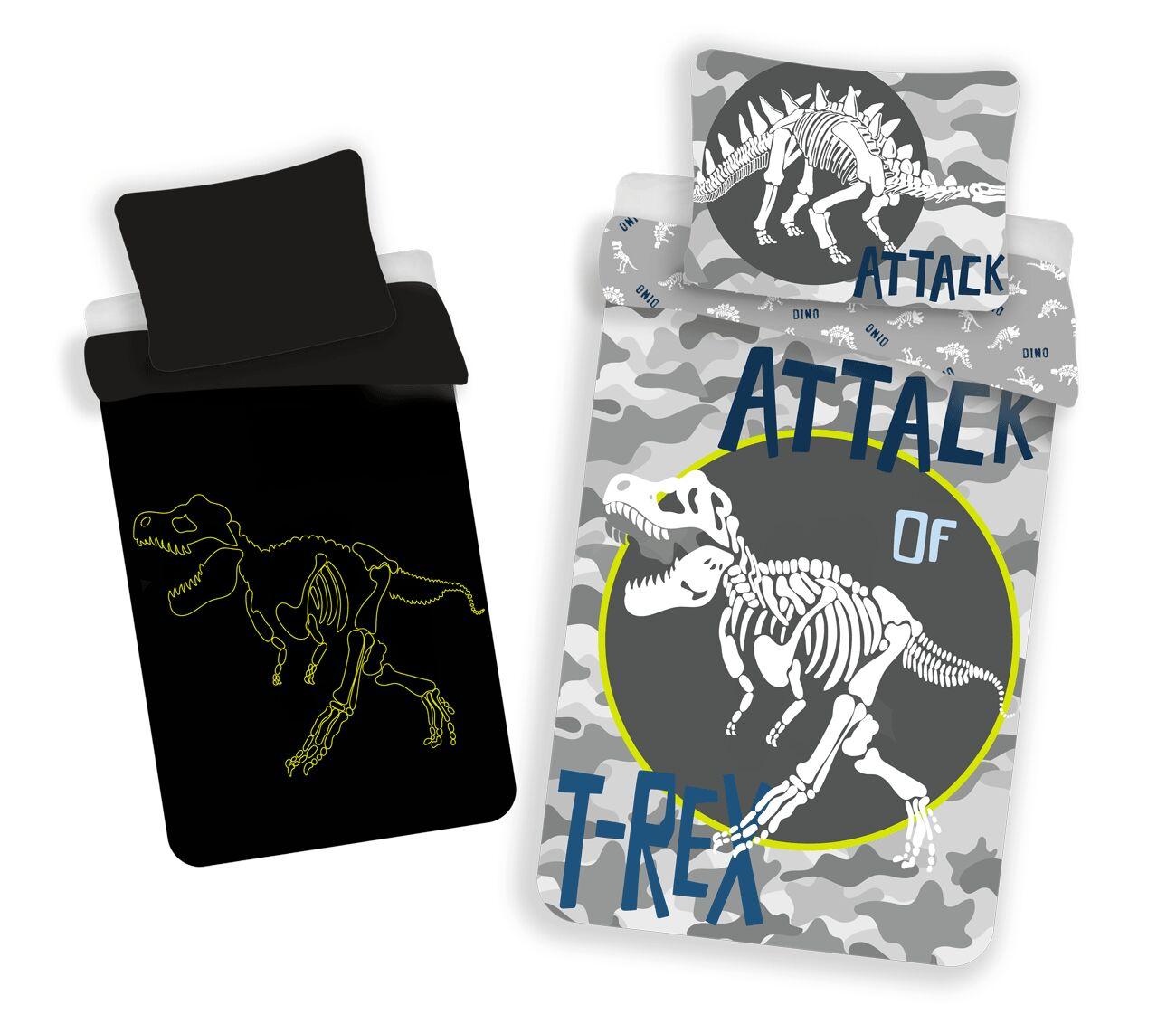 Pościel świecąca w ciemności 140x200 Dinozaury T-Rex 7196 szara bawełniana poszewka 70x90 młodzieżowa
