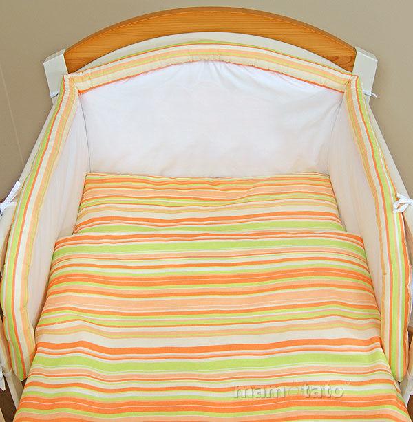 MAMO-TATO Komplet pościeli do wózka Paseczki marchewkowe - WYPRZEDAZ