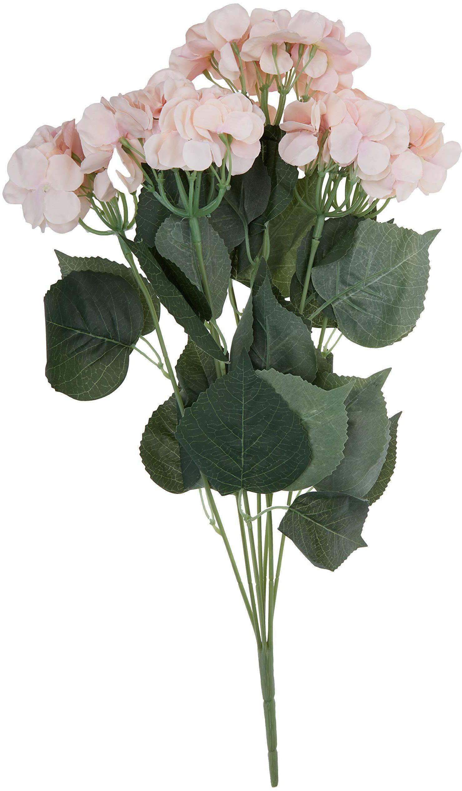 Better & Best Bukiet sztucznych hortensji z materiału i tworzywa sztucznego, zielony i różowy, 60 x 20 cm, 7 sztuk