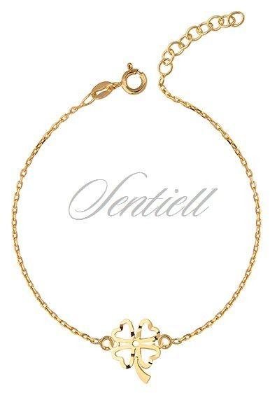 Srebrna bransoletka pr.925 z ażurową zawieszką koniczyną - pozłacana - Żółte złoto