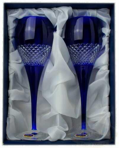 Kobaltowe kolorowe kieliszki kryształowe 2 sztuki