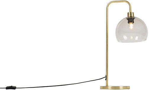 QAZQA Nowoczesna lampa stołowa mosiężna ze szkłem dymnym - Maly
