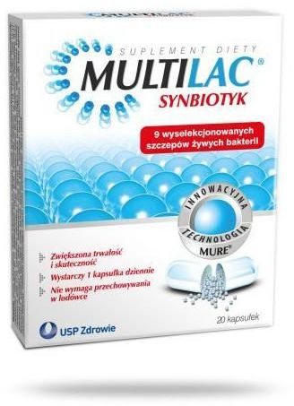 Multilac Synbiotyk probiotyk + prebiotyk 20 kapsułek