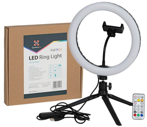 Quadralite LED Ring Light - lampa pierścieniowa, RGB, 10'' Quadralite LED Ring Light