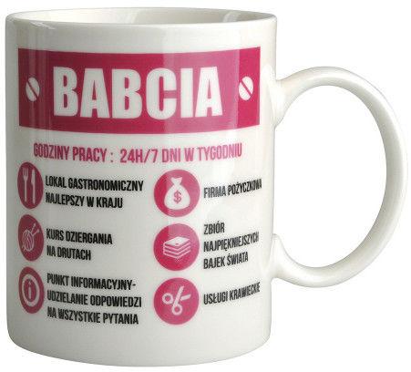 Kubek do kawy i herbaty Dzień Babci porcelana Babcia Na Etacie 320 ml, opakowanie prezentowe