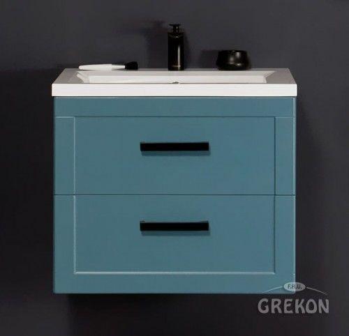Mała szafka łazienkowa niebieska 61cm z białą umywalką dolomitową ADA, Styl Nowoczesny, MEIVA Gante