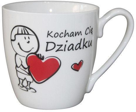 Kubek do kawy i herbaty Dzień Dziadka porcelana Kocham Cię, Dziadku - Chłopiec, dekoracja Dwa Serca 400 ml