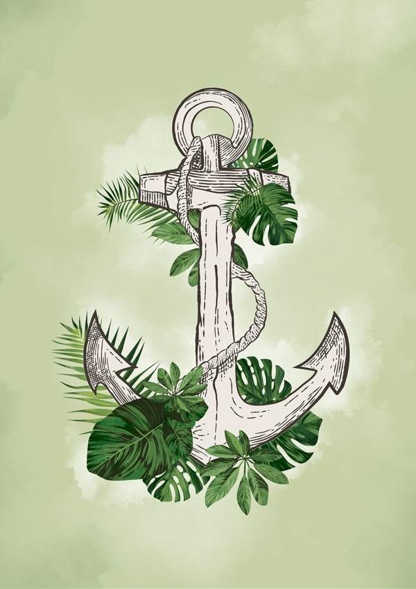 Kotwica i liście - plakat wymiar do wyboru: 20x30 cm