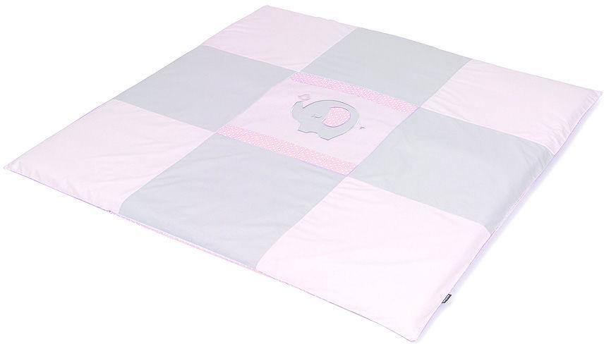 MAMO-TATO Mata podłogowa do raczkowania dla dzieci 120x120 - Słonik różowy