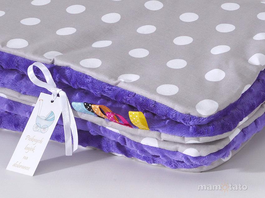 MAMO-TATO Komplet kocyk Minky do wózka + poduszka Grochy szare / fiolet - ocieplony
