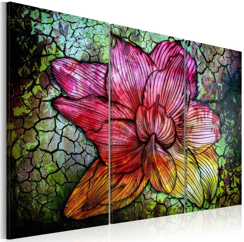 Obraz - abstrakcyjny kwiat w kolorach tęczy