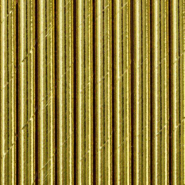 Słomki papierowe złote metaliczne 10szt SPP4M-019