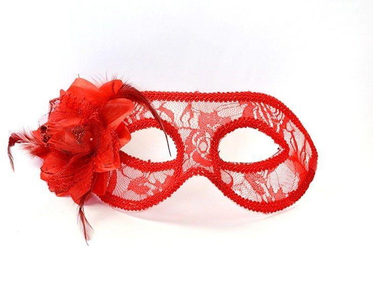 Maska karnawałowa koronkowa czerwona z różą 1 szt MAS10-007