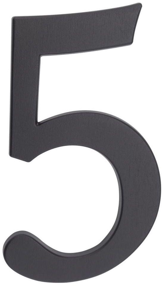 Cyfra 5 wys. 19 cm aluminiowa grafitowa