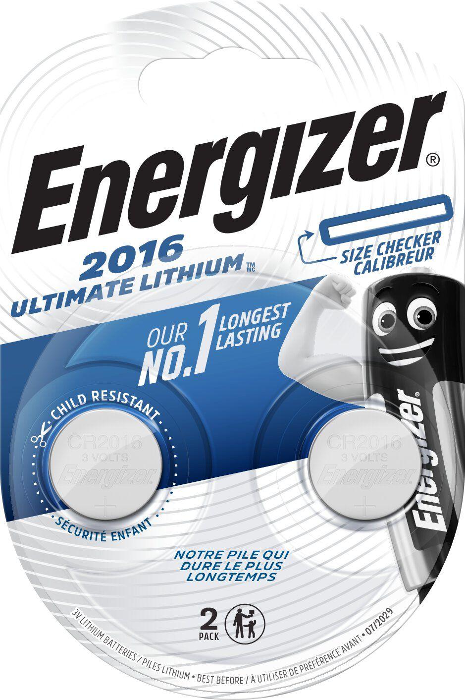 Baterie litowe mini Energizer Ultimate Lithium CR2016 2 sztuki