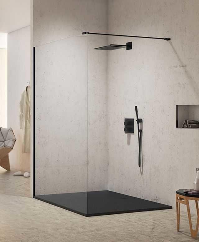 Kabina prysznicowa Walk-In New Trendy New Modus Black 130 cm, wys. 200 cm, szkło czyste 8 mm EXK-0062