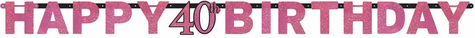Baner Happy Birthday na czterdziestkę różowy - 213 cm - 1 szt.