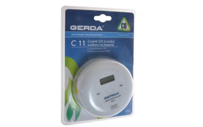 Czujnik czadu (CO) Gerda C11 z alarmem, (zasilanie 3x1,5V DC)