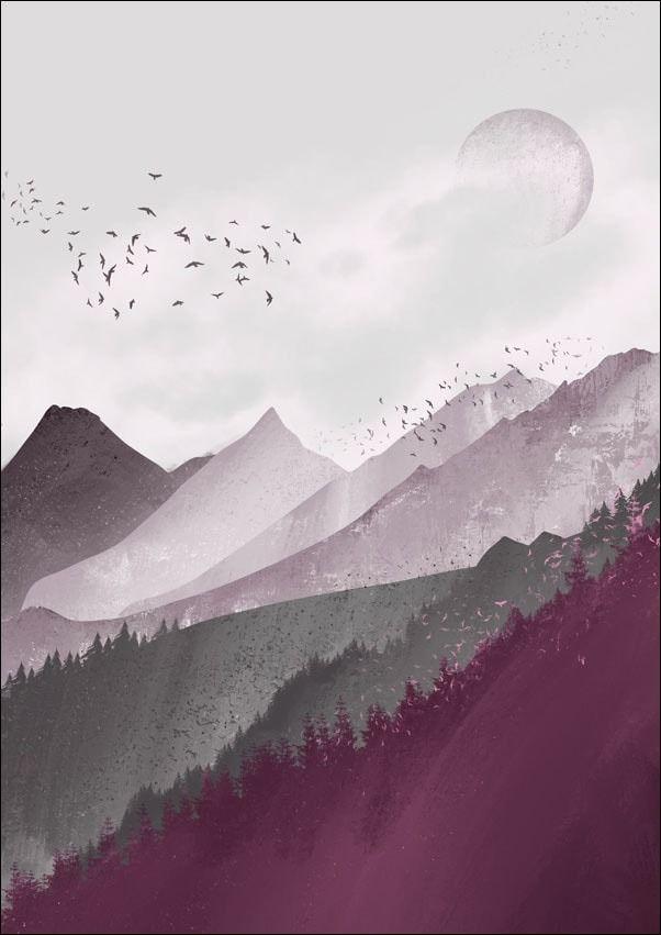 Różowe góry - plakat wymiar do wyboru: 21x29,7 cm
