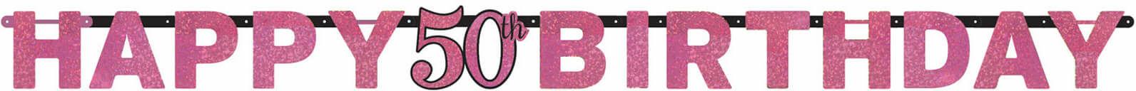 Baner Happy Birthday na pięćdziesiątkę różowy - 213 cm - 1 szt.