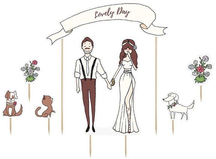 Topper na tort weselny Lovely day 7 sztuk KPT18