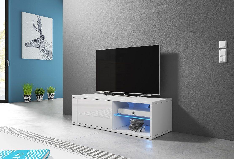 Szafka RTV ALAN biały mat-biały połysk LED