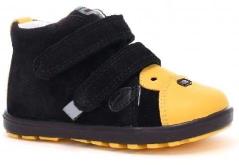 Bartek Baby Mini First Steps 71734 66SS profilaktyczne trzewiki, półbuty, dla dzieci - czarny, żółty