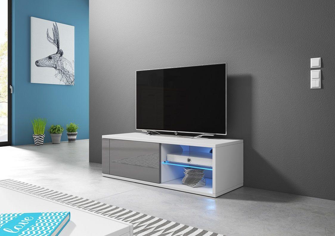 Szafka RTV ALAN biały mat-szary połysk LED