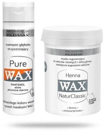 Pilomax Wax NaturClassic Henna maska regenerująca do włosów ciemnych 480 ml + Wax Pure szampon 200 ml [ZESTAW]