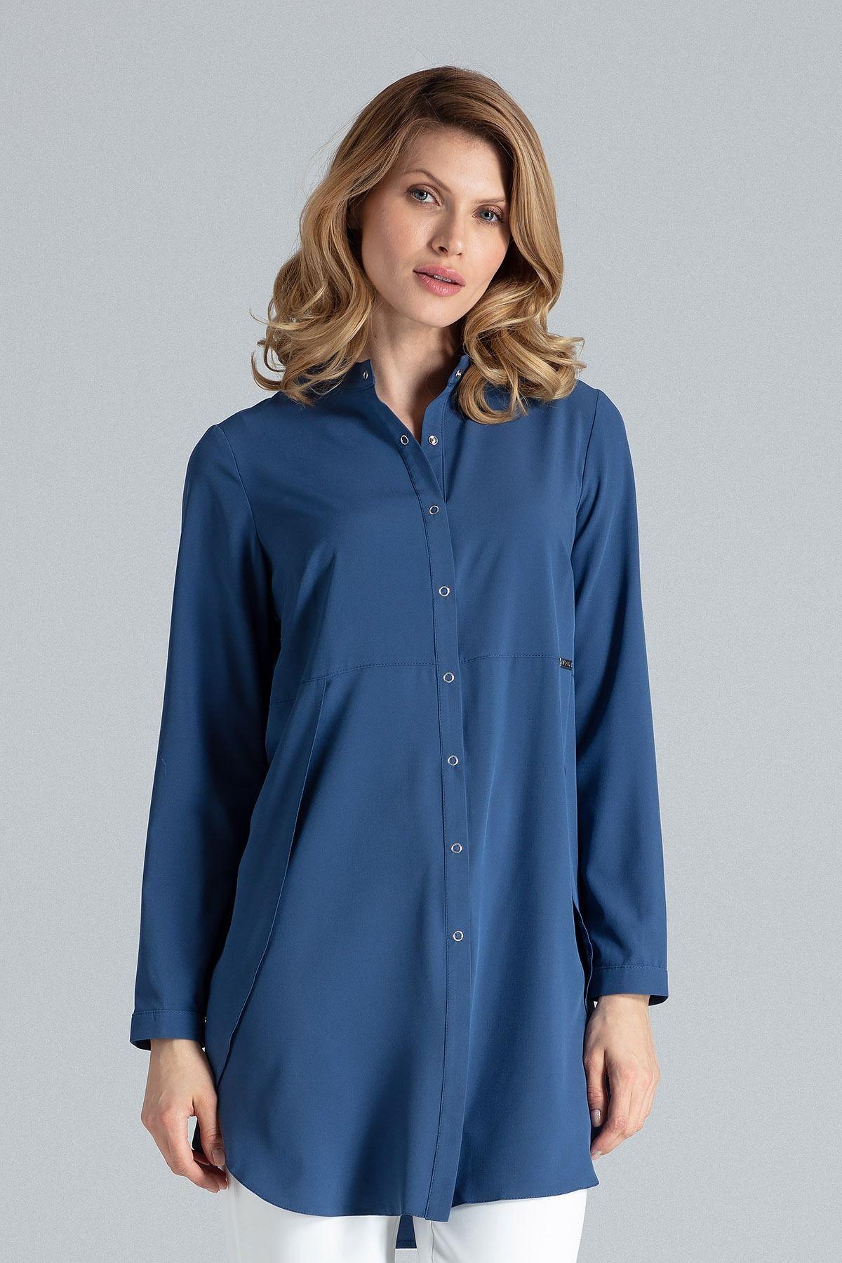 Granatowa koszula -tunika zapinana na zatrzaski