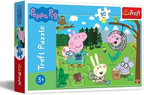 Trefl Leśna wyprawa Świnka Peppa Puzzle 30 Elementów o Wysokiej Jakości Nadruku dla Dzieci od 3 lat