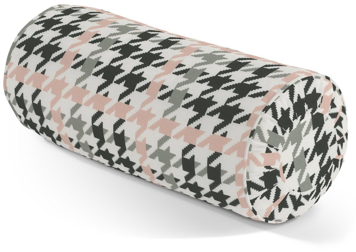 Poduszka wałek z zakładkami, różowo-czarna pepitka, Ø20  50 cm, do -50%