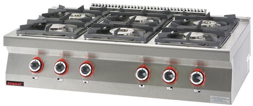 Kuchnia gastronomiczna gazowa 6-palnikowa KROMET 700.KG-6
