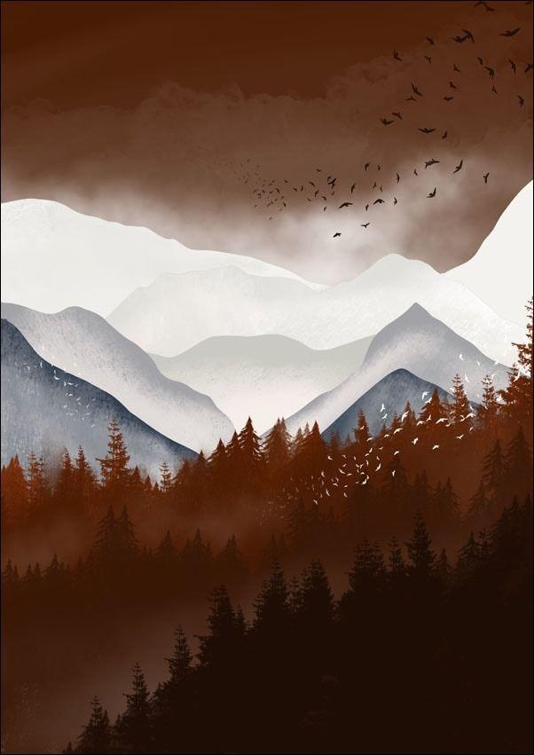 Brązowe góry - plakat wymiar do wyboru: 21x29,7 cm