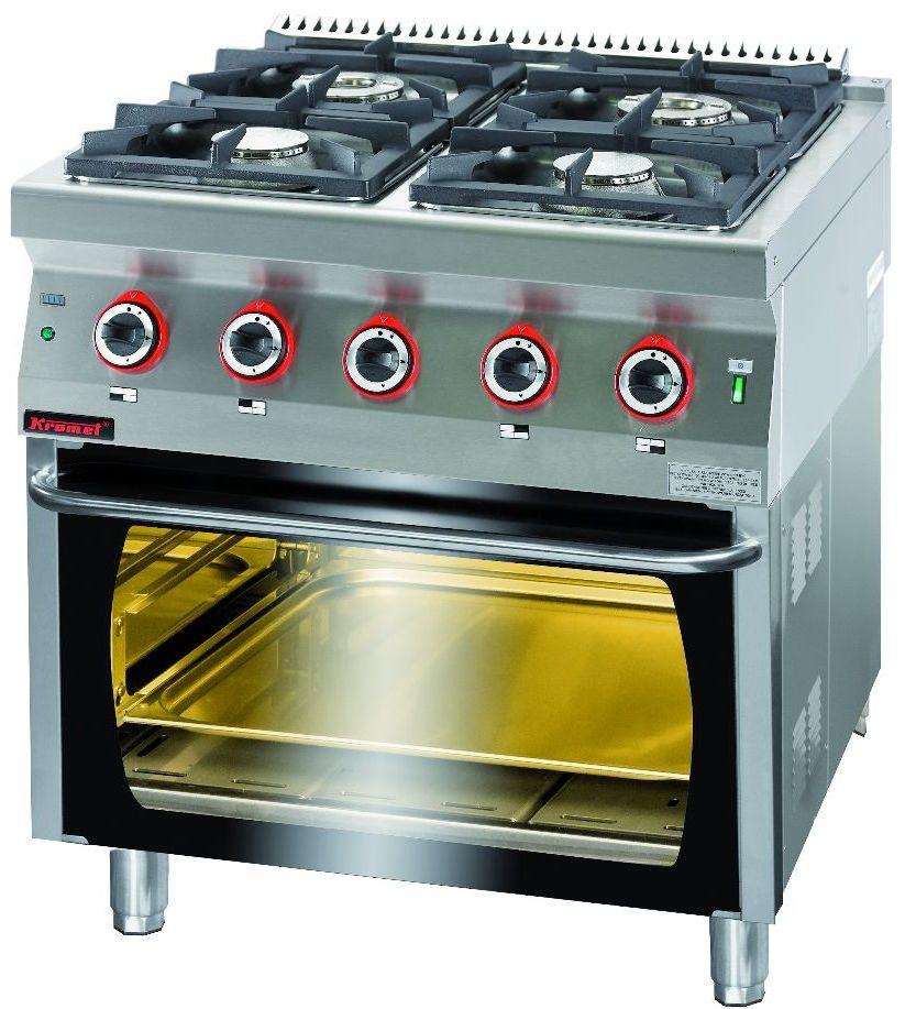 Kuchnia gastronomiczna gazowa 4-palnikowa z piekarnikiem gaz. KROMET 700.KG-4/PG-2