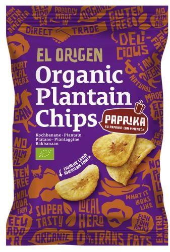 Chipsy z plantana paprykowe bezglutenowe BIO 80g - El origen