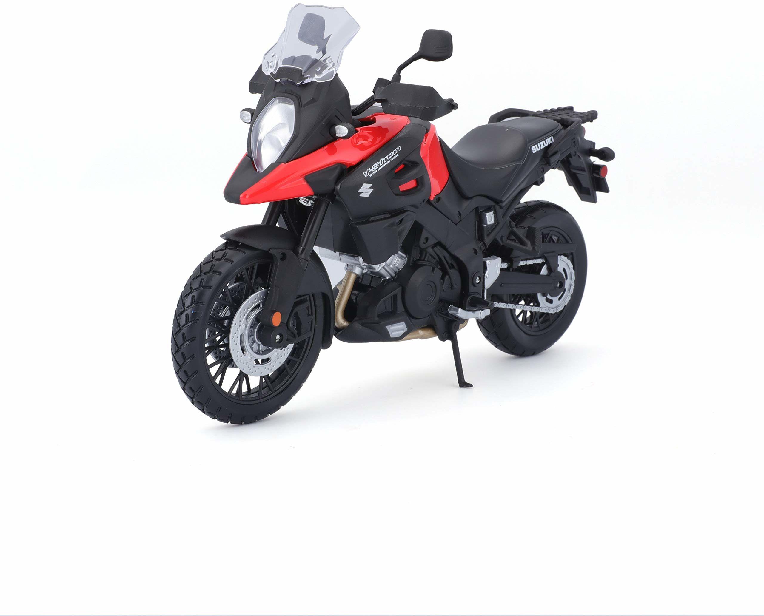Maisto Suzuki prąd V: model motocyklowy, skala 1:12, ze sprężynami i rozkładaną podpórką boczną, 17 cm, czarno-czerwony (5-19130), czerwono-czarny