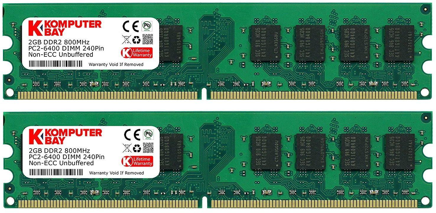 Komputerbay 4 GB 2X 2 GB DDR2 800 MHz PC2-6300 PC2-6400 DDR2 800 (240 pin) pamięć pulpitu DIMM