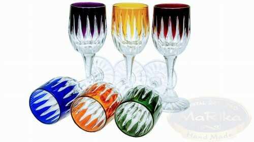 Kolorowe kryształowe kieliszki do likieru Linia 45 ml 6 sztuk