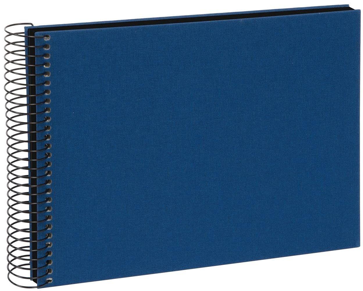 goldbuch 20996 album spiralny Bella Vista, album fotograficzny 24 x 17 cm, album fotograficzny z 40 czarnymi stronami, album na wspomnienia z lnu, fotoksiążka do wklejania, niebieski