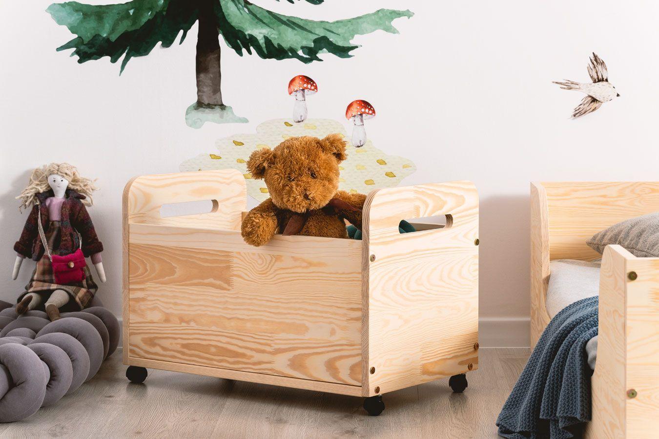 Drewniana skrzynia na zabawki Zozo 4S