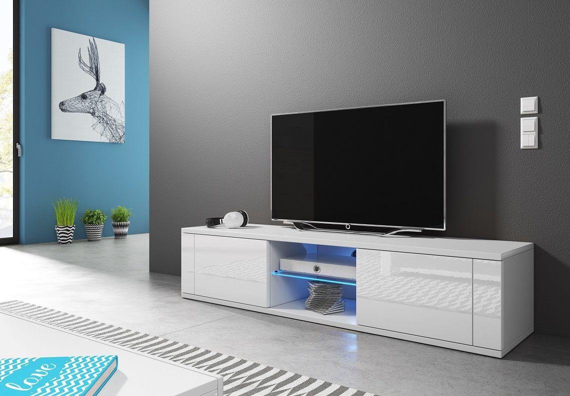 Szafka RTV KLIO biały mat-biały połysk LED