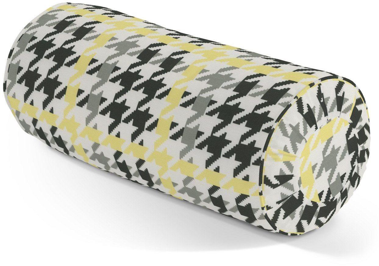 Poduszka wałek z zakładkami, żółto-czarna pepitka, Ø20  50 cm, do -50%
