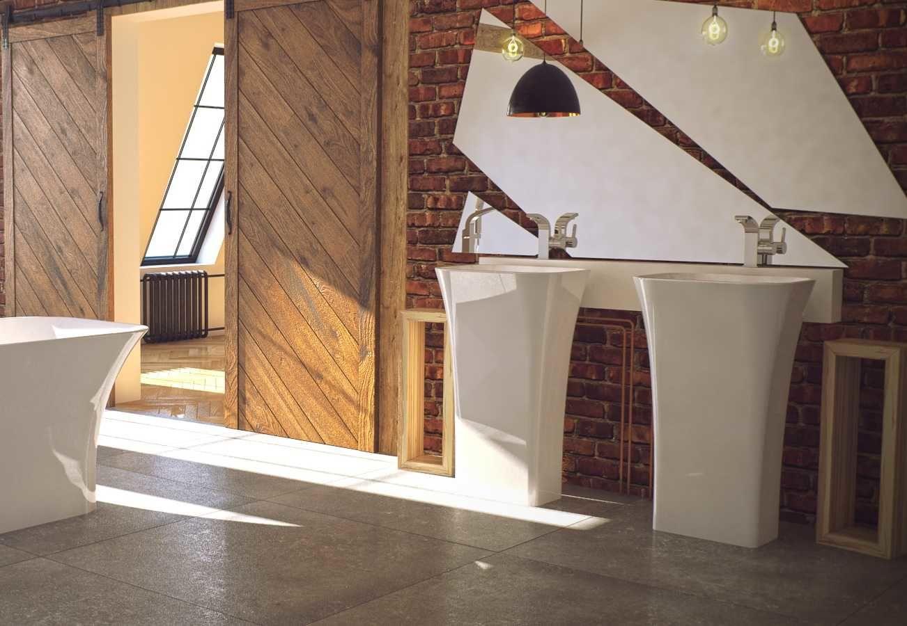 Besco umywalka wolnostojąca Assos 40x50x85 cm biała