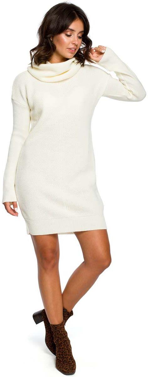 Ecru Długi Sweter- Sukienka z Szerokim Golfem